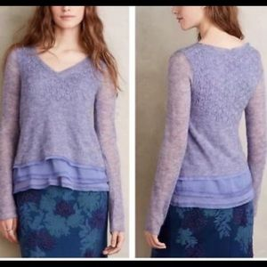 Anthropologie knitted and knotted purple top